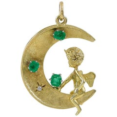 Large Gold and Emerald Angel or Devil Pendant