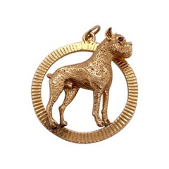 Large Gold Boxer Charm