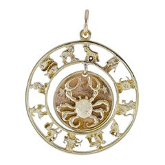 Large Gold Cancer Moveable Charm