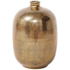 Large Gold Ceramic Vase, Signed