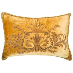 Large Gold Cotton Velvet Pillow with Metallic Embroidery and Tigers' Eye Beads