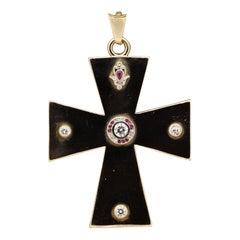 Large Gold Cross Diamond Ruby Pendant