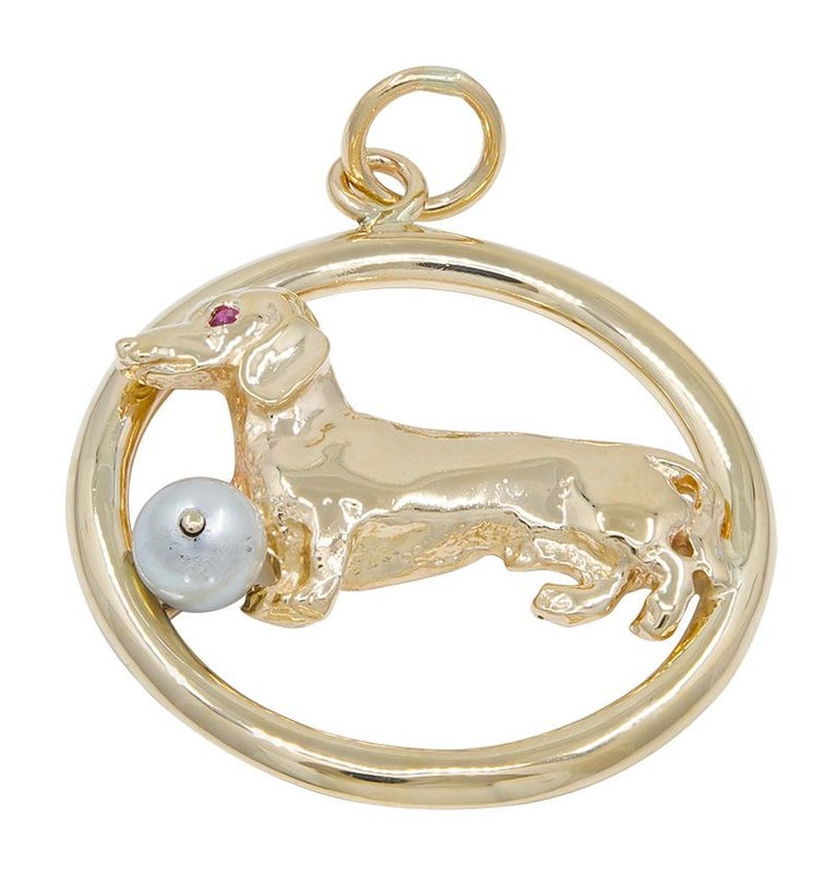 Women's or Men's Large Gold Dachshund Charm For Sale