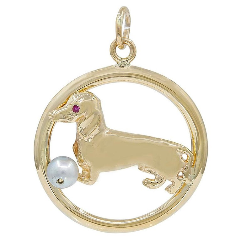 Large Gold Dachshund Charm For Sale