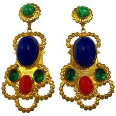 Large  Gold Egyptian Revival Ornate Statement Earrings