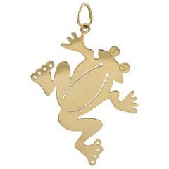 Large Gold Frog Pendant