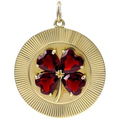 Large Gold Garnet Four-Leaf Clover Pendant or Charm