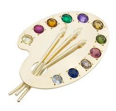 Large Gold Gemset Palette Pin