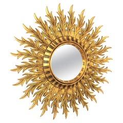 Large Gold Gilt Wooden Sunburst Mirror, Hollywood Regency Style, Spain, 1950s