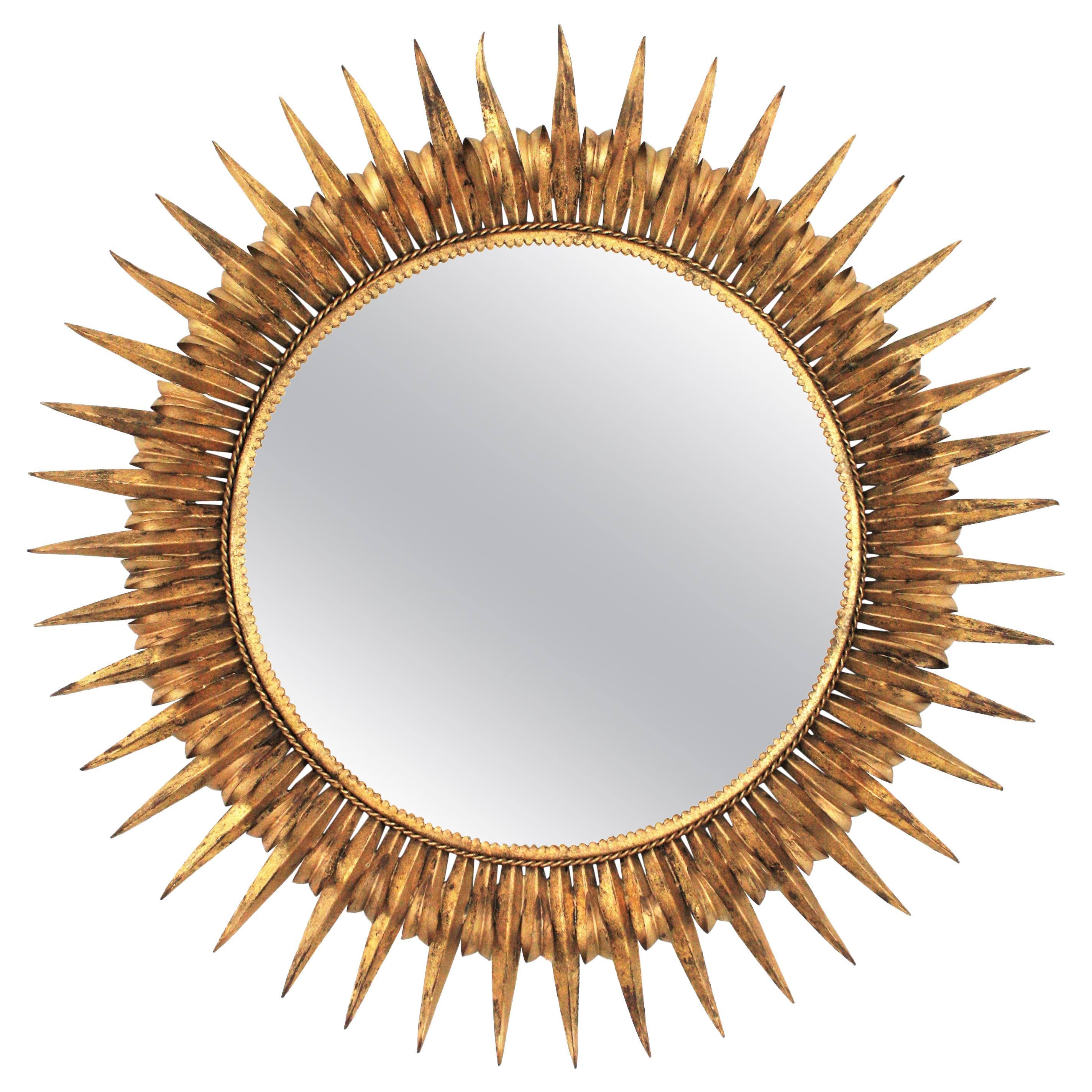 Large Gold Gilt Wrought Iron Eyelash Round Sunburst Mirror, France 1950s