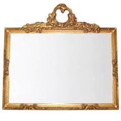 Large Gold Giltwood Antique French Louis Philippe Mirror Régence