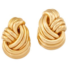 Large Gold Knot Earrings, 18 Karat Yellow Gold
