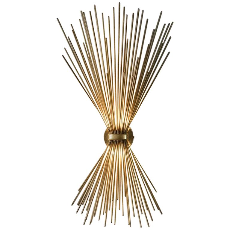 Large Gold Leaf Finish Metal Wall Light Art Deco Style For Sale