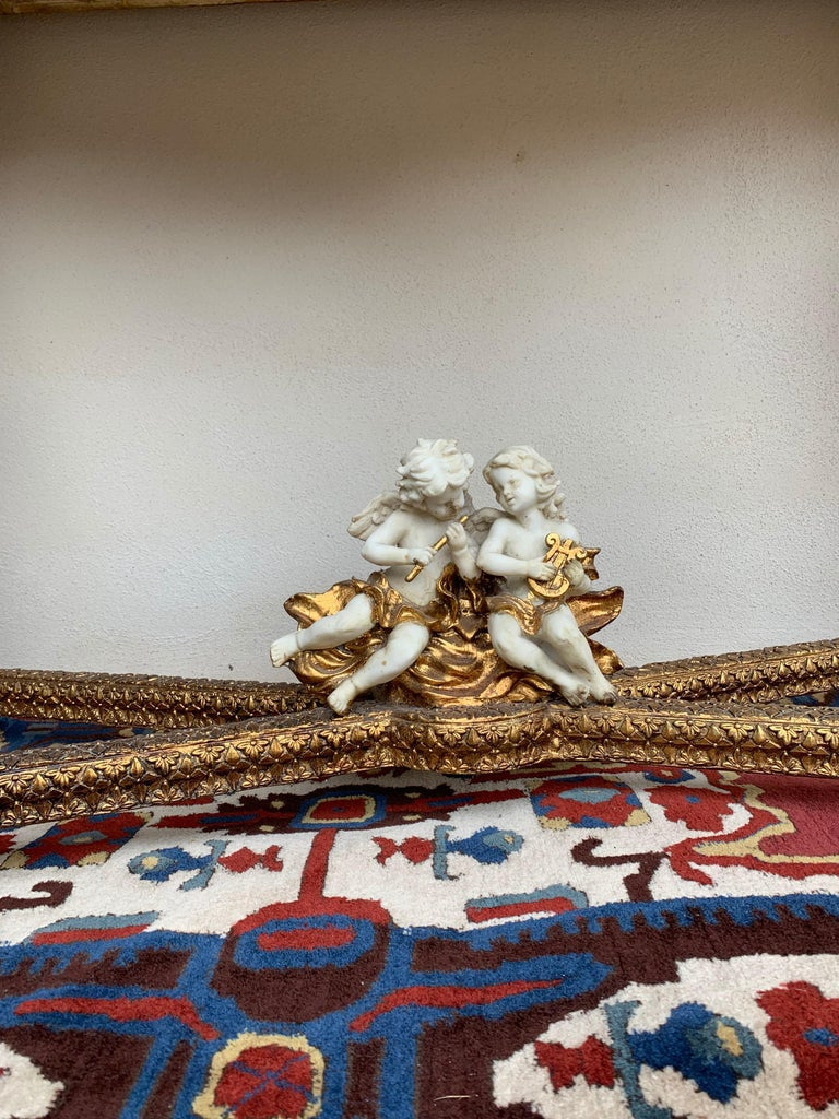 Large Gold Leafed 20th Century Console Mirror and Table with Marble Top For Sale 7