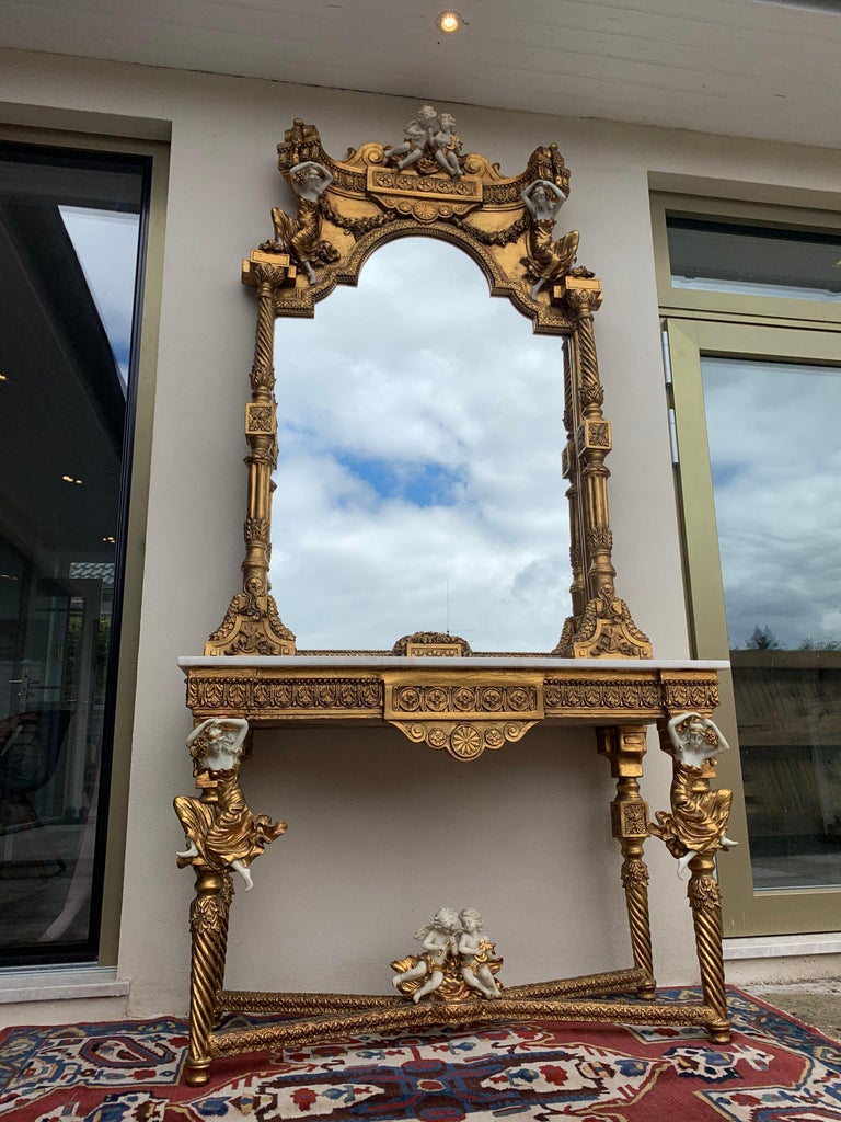 Large Gold Leafed 20th Century Console Mirror and Table with Marble Top For Sale 8