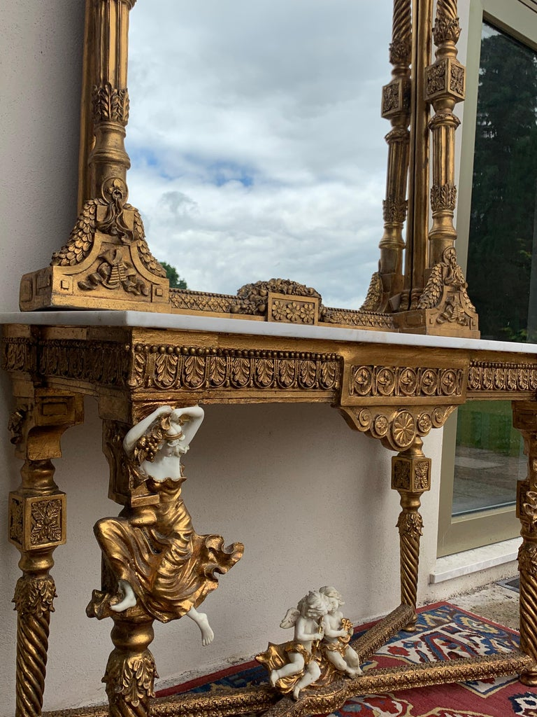 Large Gold Leafed 20th Century Console Mirror and Table with Marble Top For Sale 11