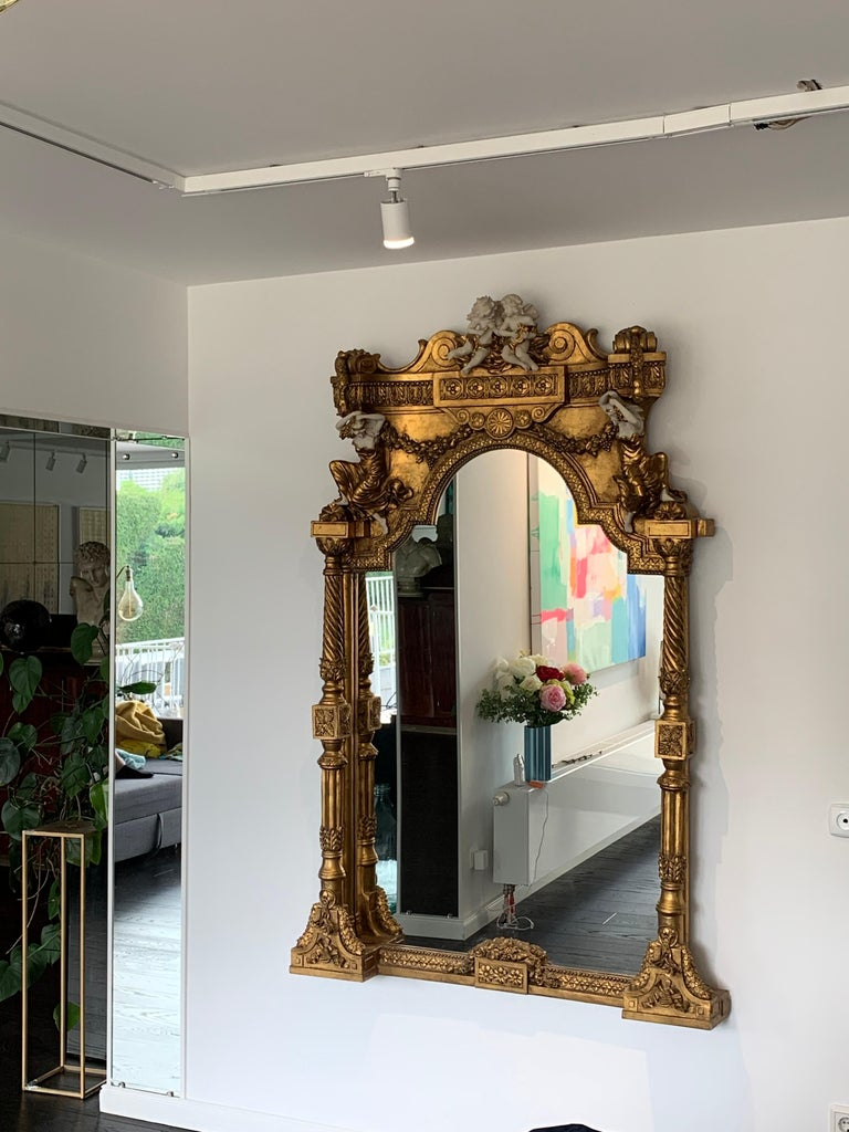 Large Gold Leafed 20th Century Console Mirror and Table with Marble Top For Sale 14