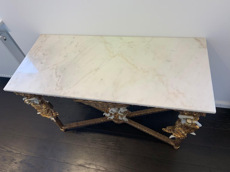 Large Gold Leafed 20th Century Console Mirror and Table with Marble Top For Sale 15