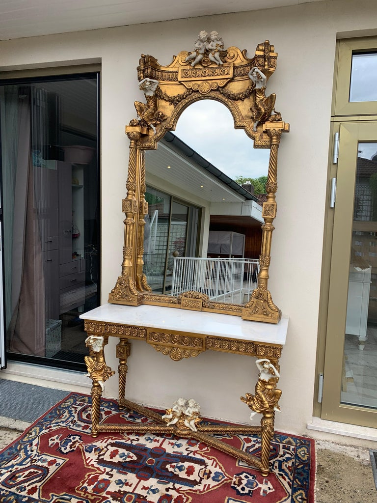 Large Gold Leafed 20th Century Console Mirror and Table with Marble Top For Sale 16