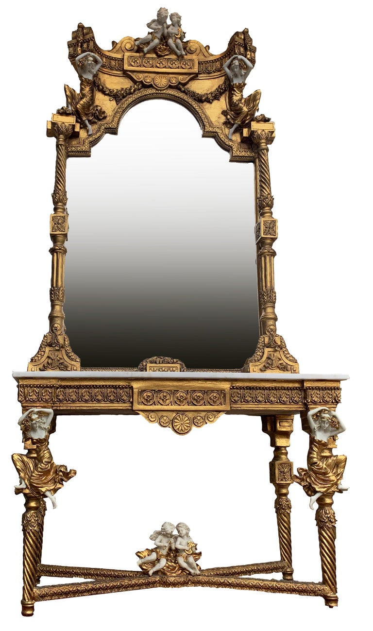 Large Gold Leafed 20th Century Console Mirror and Table with Marble Top In Good Condition For Sale In , Brunnthal