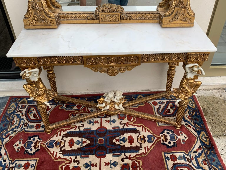 Large Gold Leafed 20th Century Console Mirror and Table with Marble Top For Sale 1