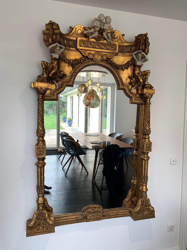 Large Gold Leafed 20th Century Console Mirror and Table with Marble Top For Sale 2
