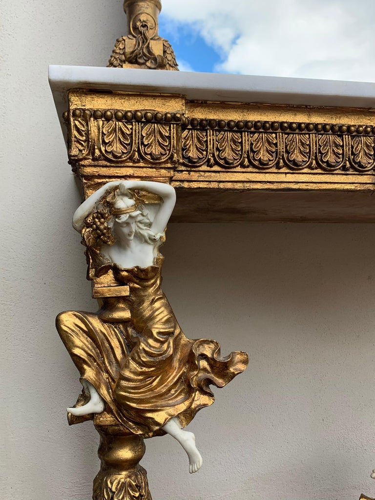 Large Gold Leafed 20th Century Console Mirror and Table with Marble Top For Sale 4
