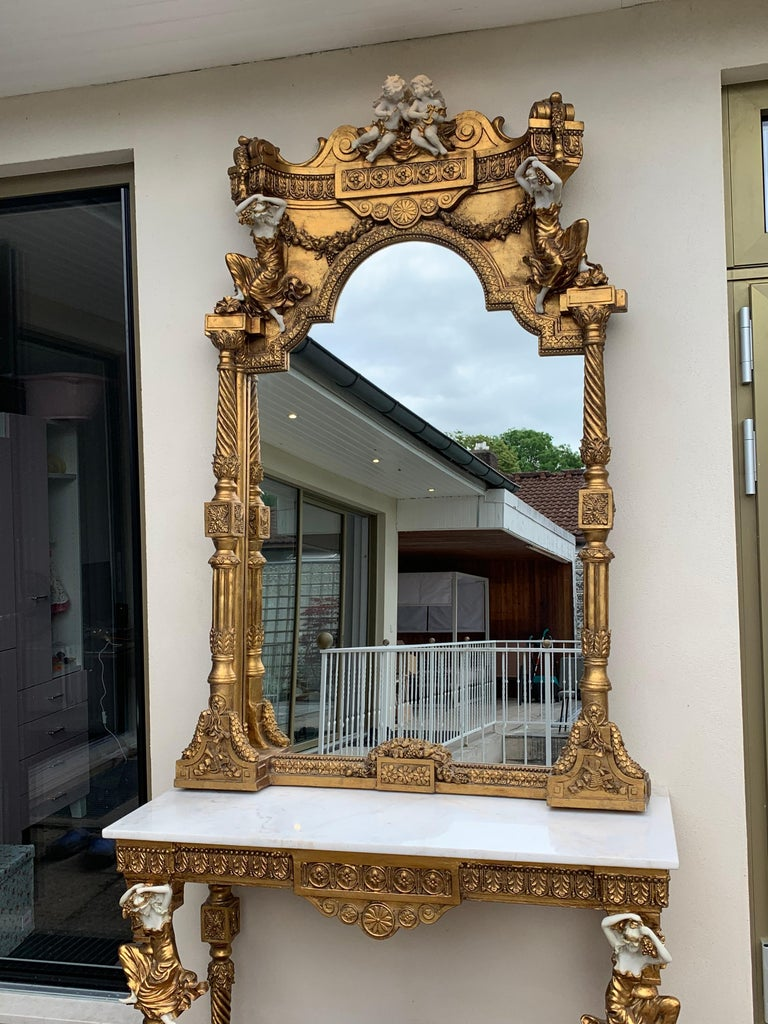 Large Gold Leafed 20th Century Console Mirror and Table with Marble Top For Sale 5