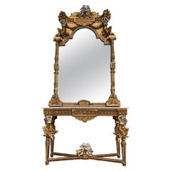 Large Gold Leafed 20th Century Console Mirror and Table with Marble Top