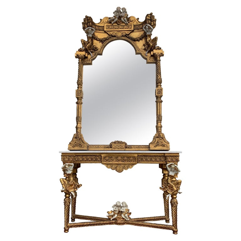 Large Gold Leafed 20th Century Console Mirror and Table with Marble Top For Sale