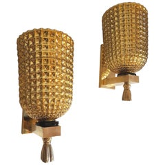 Gold Mirrored Murano Glass & Brass Mid-Century Modern Sconces Mazzega Style 1960