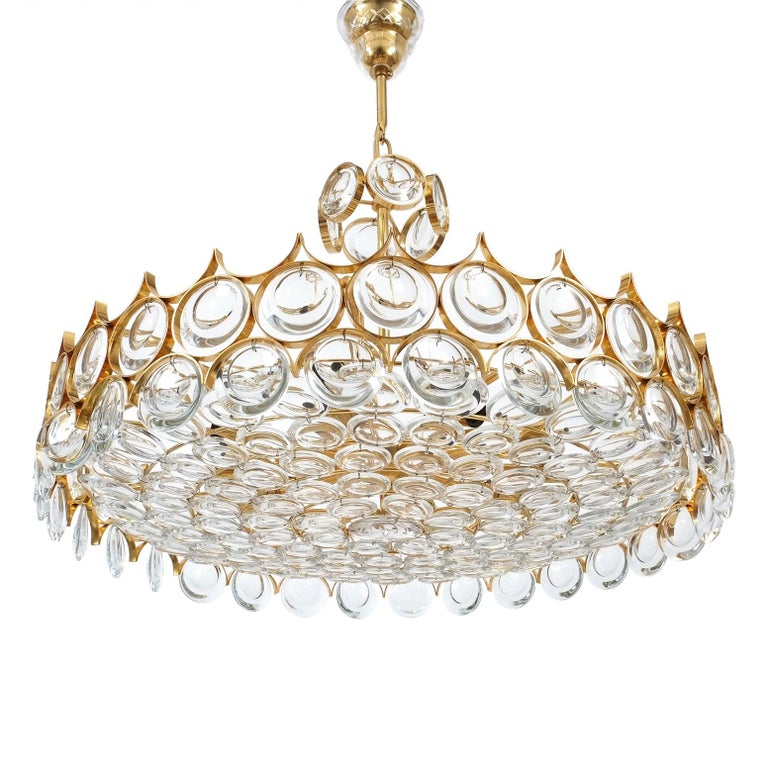 Large Gold Palwa Brass and Glass Chandelier Lamp, Germany 1960 For Sale 5