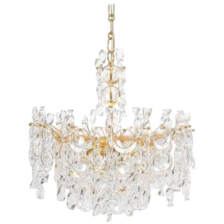 Large Gold Palwa Brass and Glass Chandelier Lamp, Germany 1960 For Sale 4