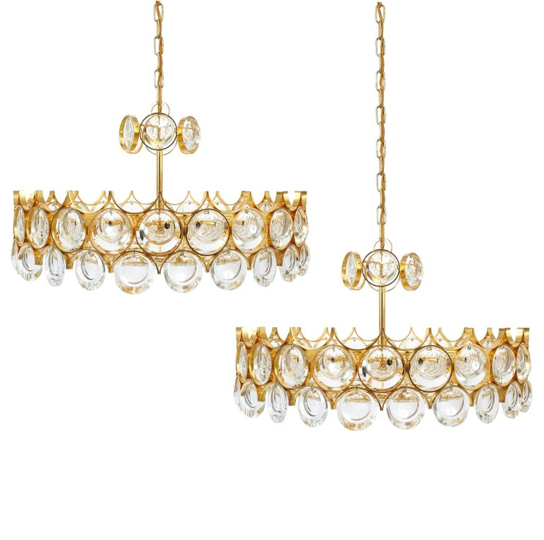 Large Gold Palwa Brass and Glass Chandelier Lamp, Germany 1960 For Sale 6