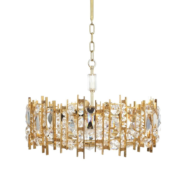 Large Gold Palwa Brass and Glass Chandelier Lamp, Germany 1960 For Sale 7
