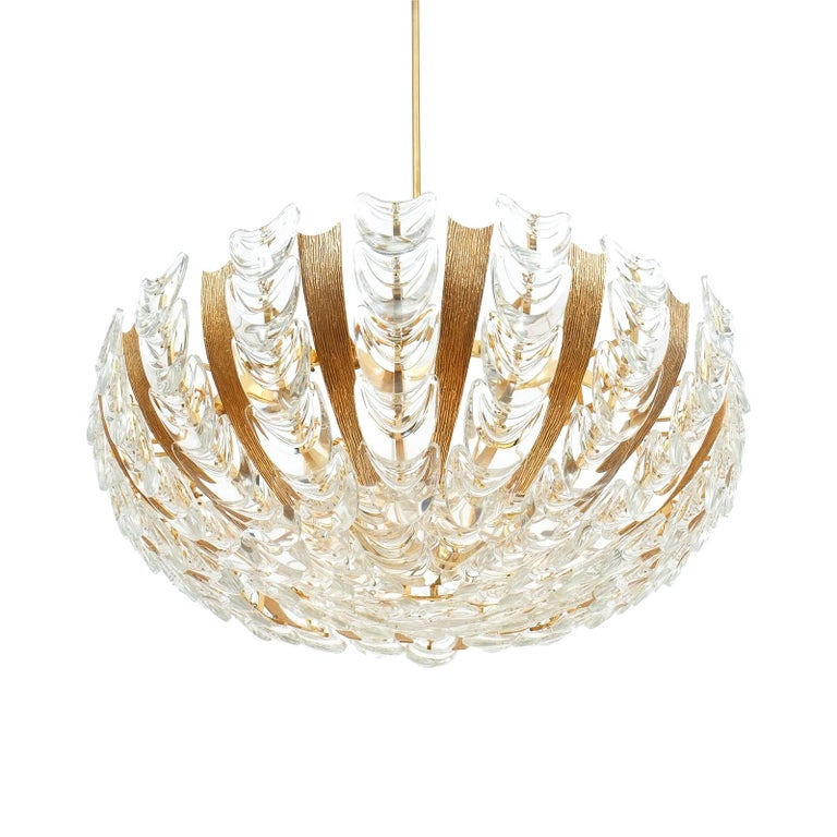 Large Gold Palwa Brass and Glass Chandelier Lamp, Germany 1960 For Sale 8