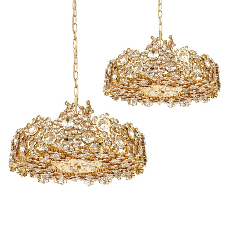 Large Gold Palwa Brass and Glass Chandelier Lamp, Germany 1960 For Sale 9