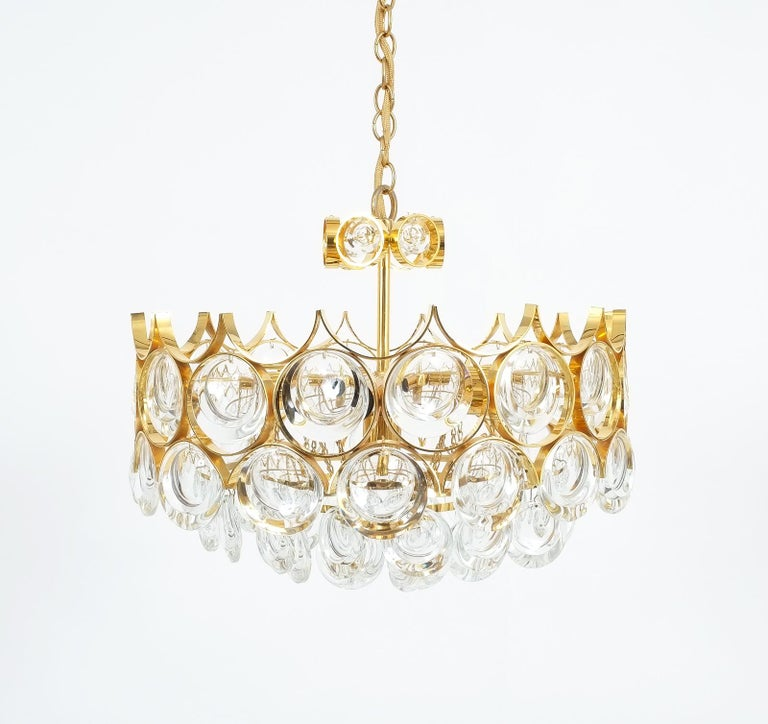 Large Gold Palwa Brass and Glass Chandelier Lamp, Germany 1960 For Sale 10