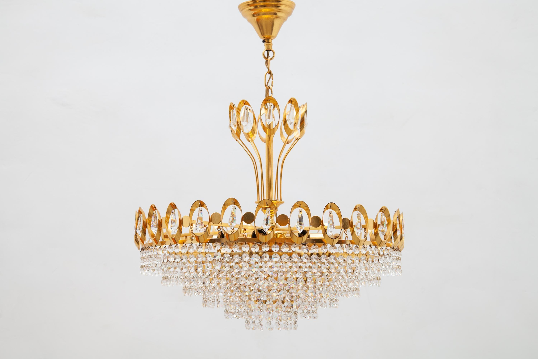Kronleuchter Gold Kristall ~ Großer gold palwa vergoldeter messing und kristall kronleuchter
