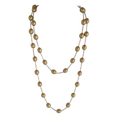 "Large Gold Pearl ""pate de verre"" Necklace"