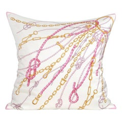 Large Gold Pink Vintage Nautical Gucci Silk Scarf, Irish Linen Cushion Pillow