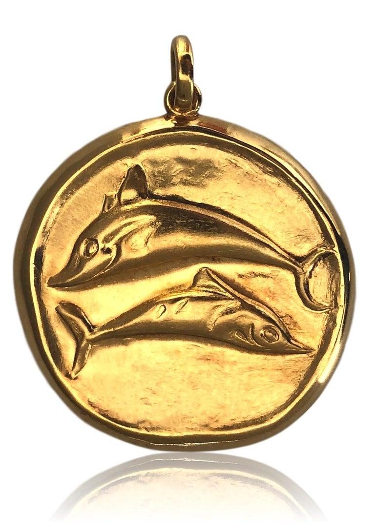 Gold Zodiac pendant by Greek designer Lalaounis. The  1 1/2