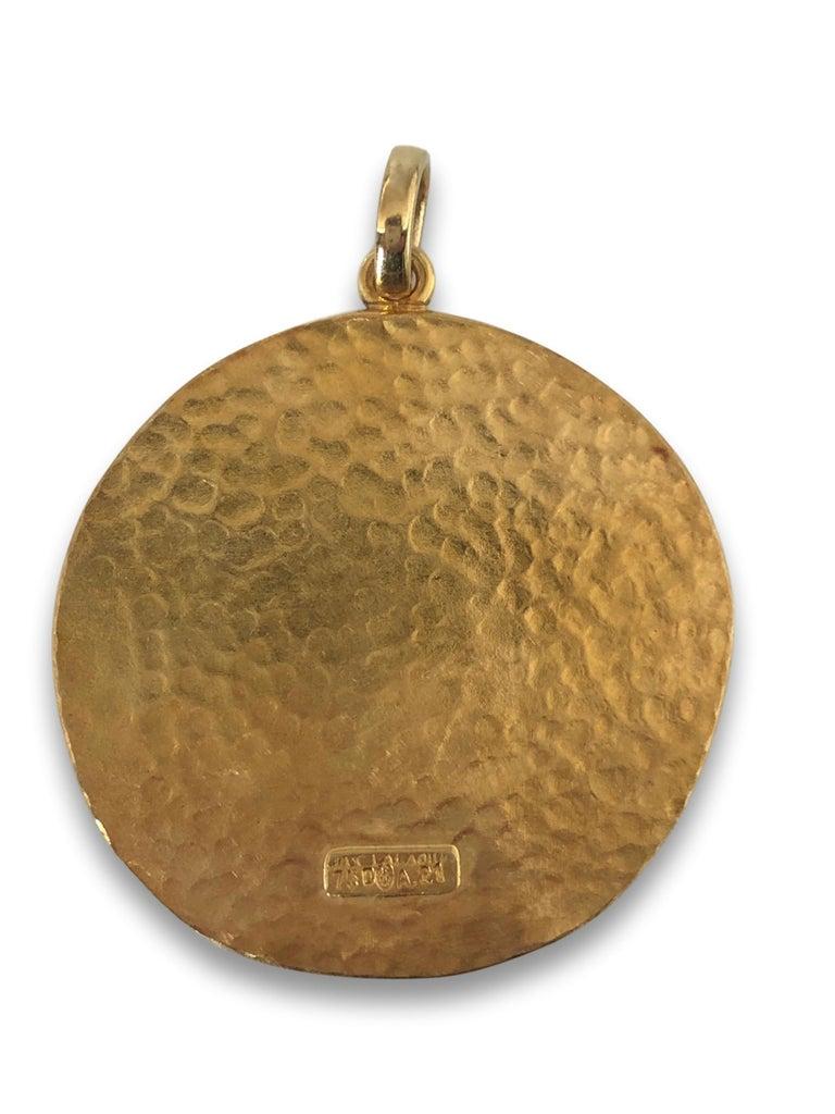 Greek Revival Large Gold Pisces Pendant by Illias Lalaounis For Sale