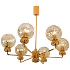 Large Gold-Plated Blown Glass Chandelier in the Style of Brotto, Italy