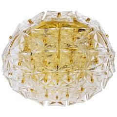 Large Gold-Plated Crystal Flush Mount Fixture by Kinkeldey, Germany, 1960s