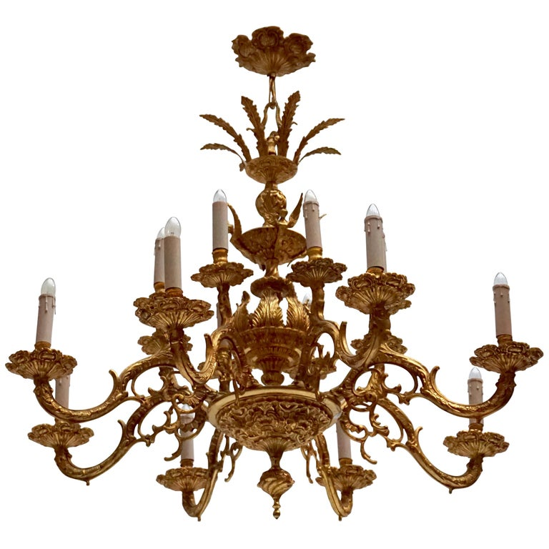 Large Gold Plated Sixteen-Light Chandelier For Sale