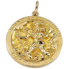 Large Gold Tiffany & Co. St. Christopher's Medala