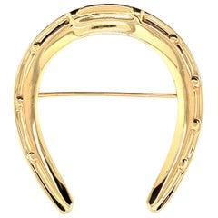 Large Gold Tiffany Horseshoe Pin