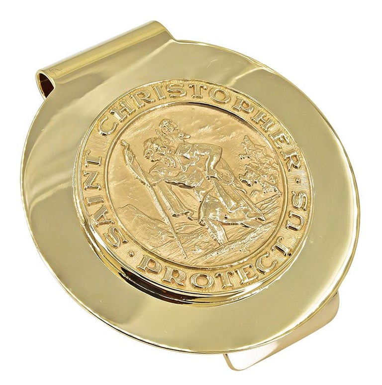 Large St. Christopher money clip.  Made and signed by TIFFANY & CO.  Very heavy gauge 14K yellow gold.  1 3/4