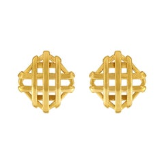 Large Gold Trellis Over and Under Earrings
